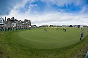 3rd October 2017, The Old Course, St Andrews, Scotland; Alfred Dunhill Links Championship, practice round; General view of the 18th green on the Old Course, St Andrews, photographed with a fisheye lens, during practice ahead of the Alfred Dunhill Links Championship
