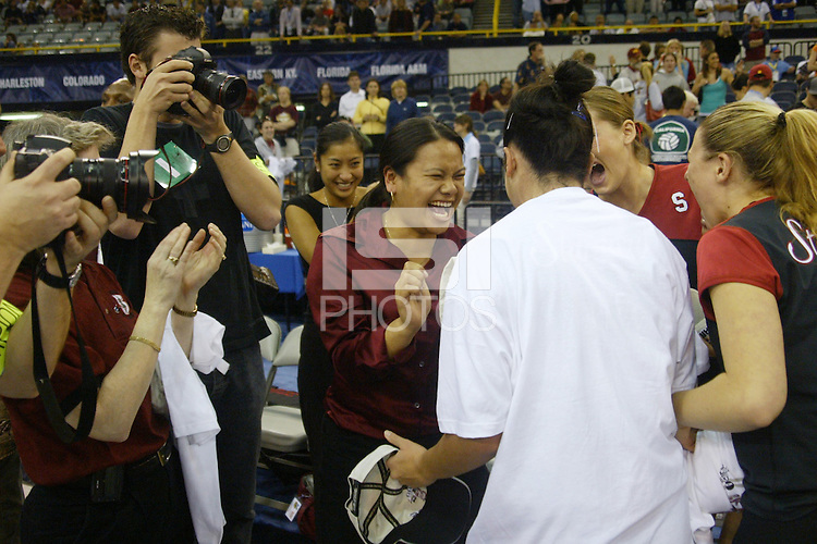 18 December 2004: Stanford Cardinal trainer Arlene Limongco during Stanford's  30-23, 30-27, 30-21 victory over Minnesota in the 2004 NCAA Women's Volleyball National Championships in Long Beach, CA. Stanford won their sixth women's volleyball title in school history.