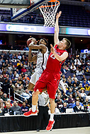 Washington, DC - MAR 10, 2018: St. Bonaventure Bonnies guard Jaylen Adams (3) goes up for a lay up against Davidson Wildcats forward Peyton Aldridge (23) during semi final match up of the Atlantic 10 men's basketball championship between Davidson and St. Bonaventure at the Capital One Arena in Washington, DC. (Photo by Phil Peters/Media Images International)