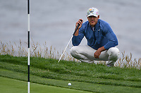 Brooks Koepka (USA) looks over his putt on 8 during round 1 of the 2019 US Open, Pebble Beach Golf Links, Monterrey, California, USA. 6/13/2019.<br /> Picture: Golffile | Ken Murray<br /> <br /> All photo usage must carry mandatory copyright credit (© Golffile | Ken Murray)