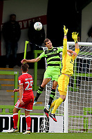 Forest Green Rovers Christian Doldge is penalised for fouling MK Dons goalkeeper, Lee Nicholls, in an aerial challenge during Forest Green Rovers vs MK Dons, Caraboa Cup Football at The New Lawn on 8th August 2017