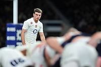 George Ford of England watches a scrum. RBS Six Nations match between England and Scotland on March 14, 2015 at Twickenham Stadium in London, England. Photo by: Patrick Khachfe / Onside Images