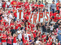 Baltimore, MD - April 28, 2018: Maryland Terrapins fans celebrate after a goal during game between John Hopkins and Maryland at  Homewood Field in Baltimore, MD.  (Photo by Elliott Brown/Media Images International)