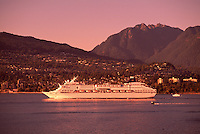 Cruise Ship leaving Vancouver Harbour past North Vancouver, British Columbia, Canada, en route to Alaska