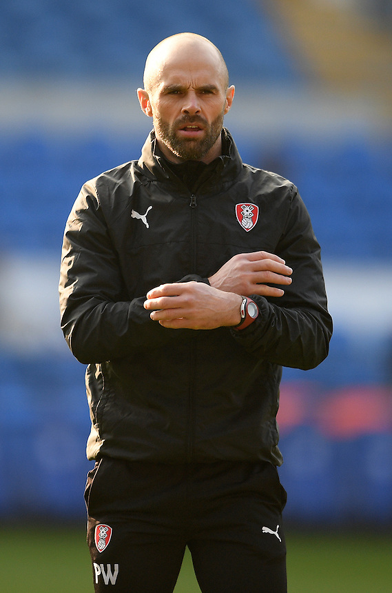 Rotherham United Interim Manager Paul Warne during the pre-match warm-up <br /> <br /> Photographer Ashley Crowden/CameraSport<br /> <br /> The EFL Sky Bet Championship - Cardiff City v Rotherham United - Saturday 18th February 2017 - Cardiff City Stadium - Cardiff<br /> <br /> World Copyright &copy; 2017 CameraSport. All rights reserved. 43 Linden Ave. Countesthorpe. Leicester. England. LE8 5PG - Tel: +44 (0) 116 277 4147 - admin@camerasport.com - www.camerasport.com