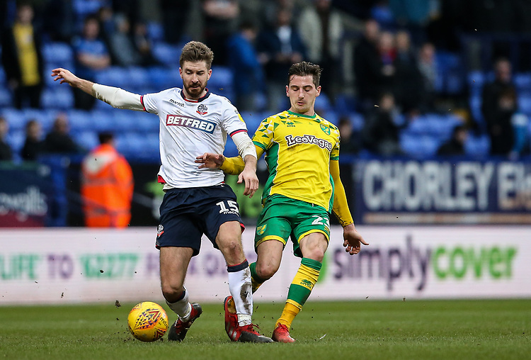 Bolton Wanderers' Luke Murphy competing with Norwich City's KennyMcLean  <br /> <br /> Photographer Andrew Kearns/CameraSport<br /> <br /> The EFL Sky Bet Championship - Bolton Wanderers v Norwich City - Saturday 16th February 2019 - University of Bolton Stadium - Bolton<br /> <br /> World Copyright © 2019 CameraSport. All rights reserved. 43 Linden Ave. Countesthorpe. Leicester. England. LE8 5PG - Tel: +44 (0) 116 277 4147 - admin@camerasport.com - www.camerasport.com
