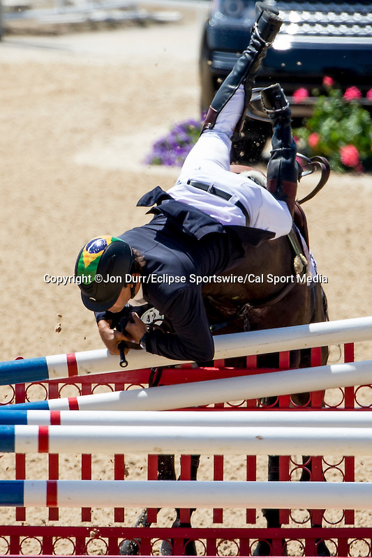 APRIL 27, 2014: TOM BOMBADILL TOO, ridden by Ruy Fonseca (BRA), competes in the Stadium Jumping Finals at the Rolex Kentucky 3-Day Event at the Kentucky Horse Park in Lexington, KY. Jon Durr/ESW/CSM