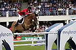 August 07, 2009: Pieter Devos of Belgium in action aboard Utopia Vd Donkhoeve. Meydan FEI Nations Cup. Failte Ireland Horse Show. The RDS, Dublin, Ireland.