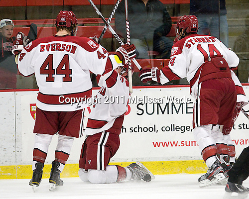 Max Everson (Harvard - 44), David Valek (Harvard - 22), Peter Starrett (Harvard - 14) - The Harvard University Crimson and Quinnipiac University Bobcats played to a 2-2 tie on Saturday, November 5, 2011, at Bright Hockey Center in Cambridge, Massachusetts.