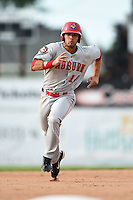 Auburn Doubledays first baseman Jose Marmolejos-Diaz (14) running the bases during a game against the Batavia Muckdogs on August 31, 2014 at Dwyer Stadium in Batavia, New York.  Batavia defeated Auburn 7-6.  (Mike Janes/Four Seam Images)