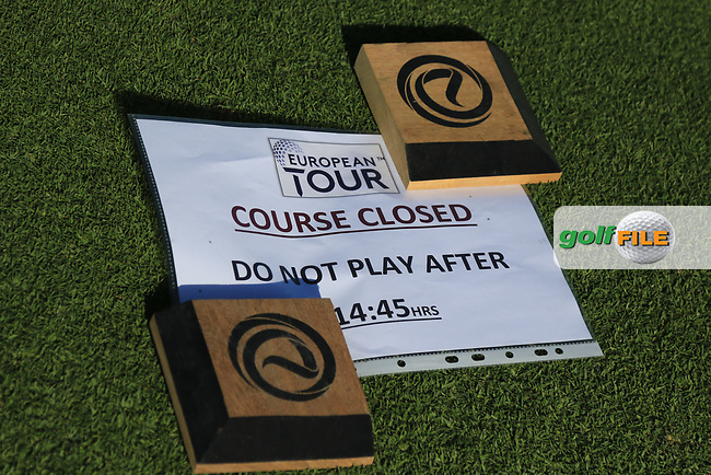 """Course closed"" during the Preview of the Commercial Bank Qatar Masters 2020 at the Education City Golf Club, Doha, Qatar . 03/03/2020<br /> Picture: Golffile 