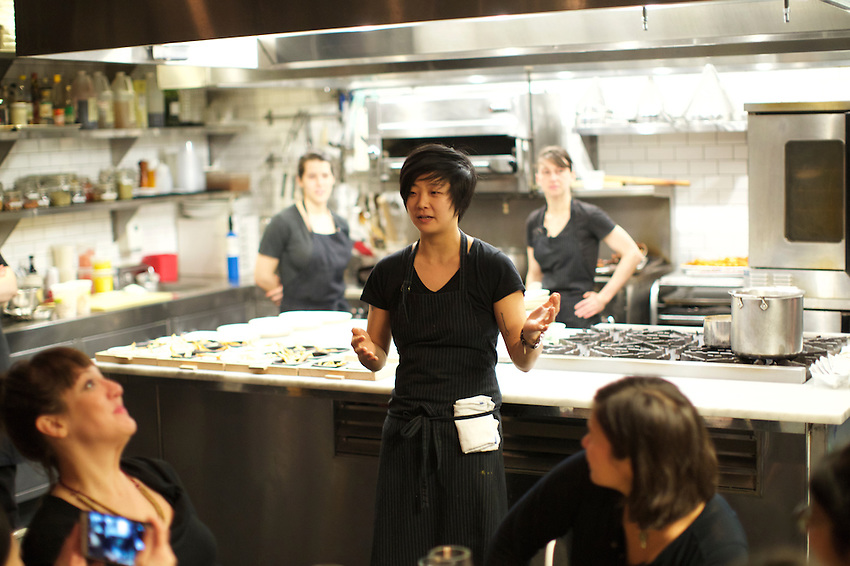 New York, NY - February 1, 2016: Hannah Wong of Gramercy Tavern hosts dinner as part of the Incubator program at Haven's Kitchen in Chelsea.<br /> <br /> CREDIT: Clay Williams for Edible Manhattan.<br /> <br /> &copy; Clay Williams / claywilliamsphoto.com