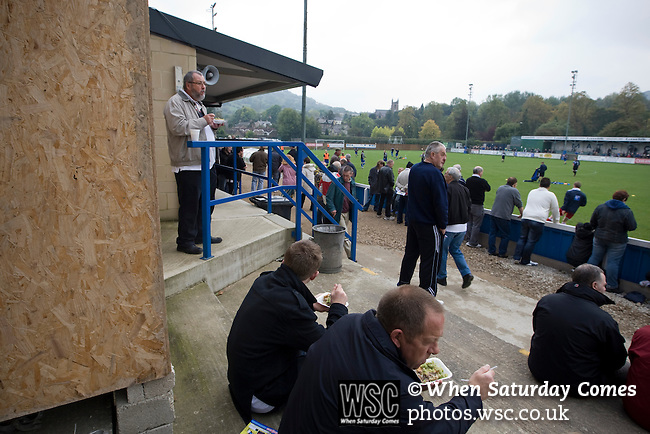 Matlock Town 0 Eastwood Town 3, 09/10/2010. Causeway Lane, FA Cup 3rd qualifying round. Spectators enjoying a pre-match meal inside the stadium before the FA Cup 3rd qualifying round tie between Matlock Town and Eastwood Town at Causeway Lane, Matlock. The visitors from Nottingham who play one division higher than Matlock won by three goals to nil to move to within one round of the FA Cup 1st round proper. The match was watched by 655 spectators. Photo by Colin McPherson.