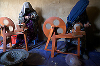 Wool spinning machinery provided by the UN to local women in Sahki-Abad village.