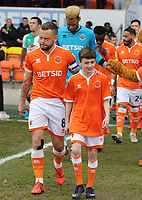 Blackpool's Jay Spearing leads his side out<br /> <br /> Photographer Kevin Barnes/CameraSport<br /> <br /> The EFL Sky Bet League One - Blackpool v Plymouth Argyle - Saturday 30th March 2019 - Bloomfield Road - Blackpool<br /> <br /> World Copyright © 2019 CameraSport. All rights reserved. 43 Linden Ave. Countesthorpe. Leicester. England. LE8 5PG - Tel: +44 (0) 116 277 4147 - admin@camerasport.com - www.camerasport.com