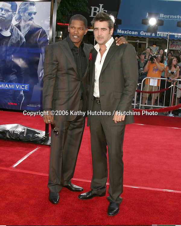 "Jamie Foxx & Colin Farrell.""Miami Vice"" Premiere.Mann's Village Theater.Westwood, CA.July 20, 2006.©2006 Kathy Hutchins / Hutchins Photo...."