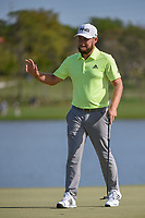 Tyrrell Hatton (ENG) drains his birdie putt on 6 during round 2 of the Arnold Palmer Invitational at Bay Hill Golf Club, Bay Hill, Florida. 3/8/2019.<br /> Picture: Golffile | Ken Murray<br /> <br /> <br /> All photo usage must carry mandatory copyright credit (&copy; Golffile | Ken Murray)