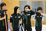 (L to R) Kaho Onodera (Fortius), Yumie Funayama, Ayumi Ogasawara, Michiko Shibechi (Fortius), SEPTEMBER 17, 2013 - Curling : Olympic qualifying Japan Curling Championships Women's Final forth Mach between Fortius 8-5 Chuden at Dogin Curling Studium, Sapporo, Hokkaido, Japan. (Photo by Yusuke Nakanishi/AFLO SPORT)