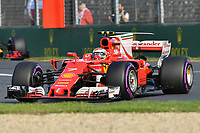 March 26, 2017: Kimi Raikkonen (FIN) #7 from the Scuderia Ferrari team rounds turn one at the 2017 Australian Formula One Grand Prix at Albert Park, Melbourne, Australia. Photo Sydney Low