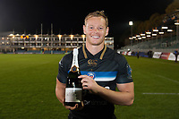 Man of the Match Chris Cook of Bath Rugby poses for a photo with his Pol Roger champagne. European Rugby Champions Cup match, between Bath Rugby and Benetton Rugby on October 14, 2017 at the Recreation Ground in Bath, England. Photo by: Patrick Khachfe / Onside Images