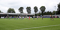 Pictured: The teams enter the pitch Saturday 11 July 2015<br />