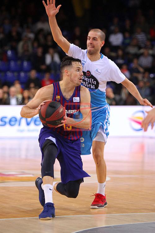 League ACB-ENDESA 2018/2019. Game: 14.<br /> FC Barcelona Lassa vs Monbus Obradoiro: 79-73.<br /> Thomas Heurtel vs Albert Sabat.