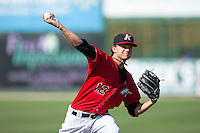 Kannapolis Intimidators starting pitcher Spencer Adams (12) in action against the Hickory Crawdads at CMC-Northeast Stadium on May 21, 2015 in Kannapolis, North Carolina.  The Intimidators defeated the Crawdads 2-0 in game one of a double-header.  (Brian Westerholt/Four Seam Images)
