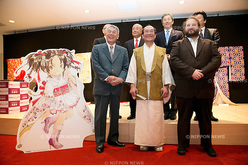 "April 24, 2013, Tokyo, Japan - The organizers of ""Kyoto international Manga Anime Fair 2013"" pose for cameras at the press conference in Kabukiza Tower, Tokyo. In the press conference the organizers of KYOMAF, Mayor of Kyoto and Japan EXPO (in France) signed a document to collaborate together to promote the anime and manga culture in Europe and United States. The KYOMAF is the largest manga/anime fair in West Japan and will be free entrance for elementary school students and foreigners with passport. It will be held from September 6 to 8 at Miyako Messe, Kyoto. (Photo by Rodrigo Reyes Marin/AFLO).."
