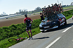 Bike change for Jasper Stuyven (BEL) Trek-Segafredo during the 115th edition of the Paris-Roubaix 2017 race running 257km Compiegne to Roubaix, France. 9th April 2017.<br /> Picture: ASO/P.Ballet | Cyclefile<br /> <br /> <br /> All photos usage must carry mandatory copyright credit (&copy; Cyclefile | ASO/P.Ballet)