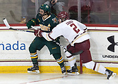 Travis Blanliel (UVM - 10), Scott Savage (BC - 2) - The visiting University of Vermont Catamounts tied the Boston College Eagles 2-2 on Saturday, February 18, 2017, Boston College's senior night at Kelley Rink in Conte Forum in Chestnut Hill, Massachusetts.Vermont and BC tied 2-2 on Saturday, February 18, 2017, Boston College's senior night at Kelley Rink in Conte Forum in Chestnut Hill, Massachusetts.