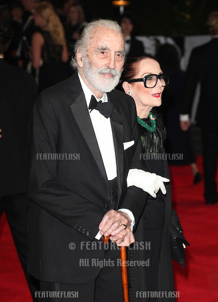 Sir Christopher Lee and wife Birgit arriving for the Royal World Premiere of 'Skyfall' at Royal Albert Hall, London. 23/10/2012 Picture by: Alexandra Glen / Featureflash