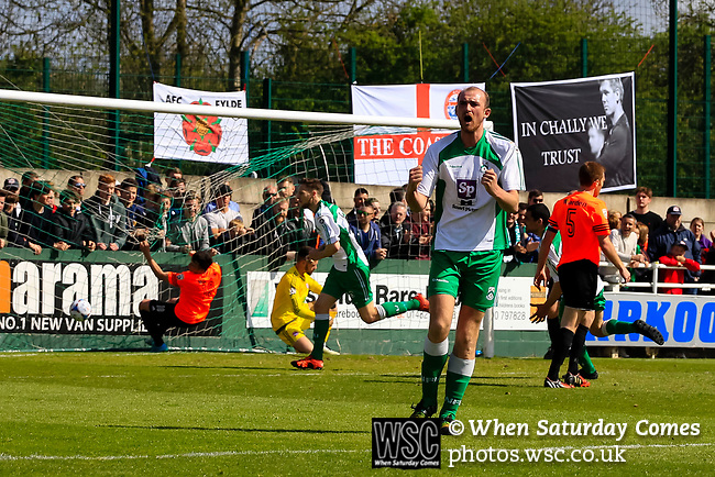 Wayne Brooksby  scores the equalising goal for North Ferriby. Vanarama National League North, Promotion Final, North Ferriby United v AFC Fylde, 14th May 2016.