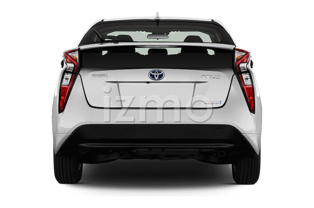 Straight rear view of 2016 Toyota Prius Comfort 5 Door Hatchback Rear View  stock images