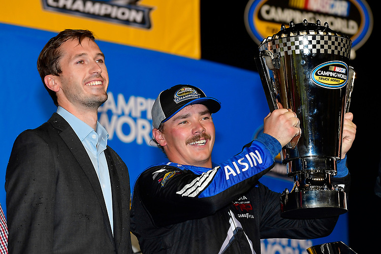 #16: Brett Moffitt, Hattori Racing Enterprises, Toyota Tundra AISIN Group, wins the Ford EcoBoost 200 and Camping World Truck Series.