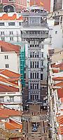 Elevator Elevador de Santa Justa. City view. From Castelo de Sao Jorge. Lisbon, Portugal