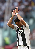 Calcio, Serie A: Juventus - Lazio, Torino, Allianz Stadium, 25 agosto, 2018.<br /> Juventus' Cristiano Ronaldo claps hand during the Italian Serie A football match between Juventus and Lazio at Torino's Allianz stadium, August 25, 2018.<br /> UPDATE IMAGES PRESS/Isabella Bonotto