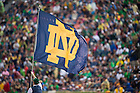 Aug 30, 2014; The leprechaun carries the ND flag following a score during the game against Rice. Notre Dame won 48-17..Photo by Matt Cashore