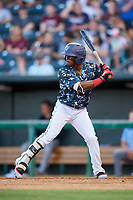 Jacksonville Jumbo Shrimp shortstop Mason Davis (2) at bat during a game against the Mobile BayBears on April 14, 2018 at Baseball Grounds of Jacksonville in Jacksonville, Florida.  Mobile defeated Jacksonville 13-3.  (Mike Janes/Four Seam Images)