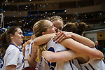 GRAND RAPIDS, MI - MARCH 18: Amherst College celebrates their win against Tufts University during the Division III Women's Basketball Championship held at Van Noord Arena on March 18, 2017 in Grand Rapids, Michigan. Amherst College defeated Tufts University 52-29 for the national title. (Photo by Brady Kenniston/NCAA Photos via Getty Images)