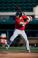Fort Myers Miracle Taylor Grzelakowski (13) bats during a Florida State League game against the Lakeland Flying Tigers on August 3, 2019 at Publix Field at Joker Marchant Stadium in Lakeland, Florida.  Lakeland defeated Fort Myers 4-3.  (Mike Janes/Four Seam Images)