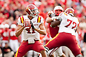 24 October 2009: Iowa State quarterback Jerome Tiller drops back for a pass against Nebraska at Memorial Stadium, Lincoln, Nebraska. Iowa State defeated Nebraska 9 to 7.