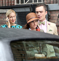 August 10, 2012  Ed Westwick, Kelly Rutherford, Marcil Leighton shooting on location for  Gossip Girl in New York City.Credit:© RW/MediaPunch Inc. /NortePhoto.com*<br />