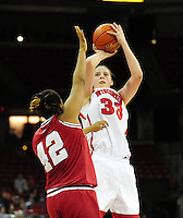 Wisconsin's Lin Zastrow takes a jump shot versus Indiana University in Badgers women's basketball on Monday at the Kohl Center in Madison