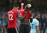 Paul Pogba of Manchester United wipes his eye during the premier league match at the Etihad Stadium, Manchester. Picture date 7th April 2018. Picture credit should read: Simon Bellis/Sportimage