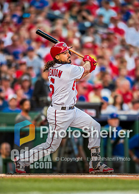 7 October 2017: Washington Nationals third baseman Anthony Rendon opens the scoring with a solo home run in the first inning of the second NLDS game against the Chicago Cubs at Nationals Park in Washington, DC. The Nationals defeated the Cubs 6-3 and even their best of five Postseason series at one game apiece. Mandatory Credit: Ed Wolfstein Photo *** RAW (NEF) Image File Available ***