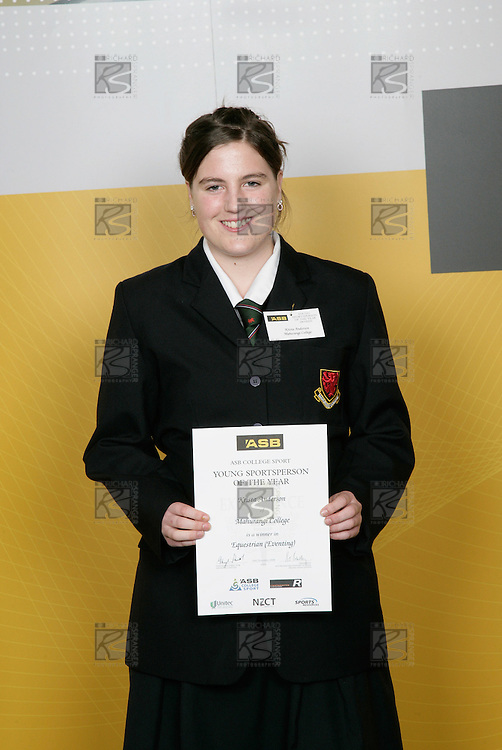 Equestrian Eventing Girls Winner -Krista Anderson.  ASB College Sport Young Sportsperson of the Year Awards 2006, held at Eden Park on Thursday 16th of November 2006.<br />