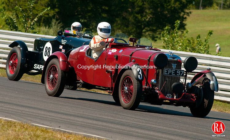 LAKEVILLE, CT, 06 SEPTEMBER, 2010-090610JS07-Daniel Ghose of Norfolk drives a 1936 Lagonda LG45 Team Car (3) and William Holman in a 1928 Stutz Sports Car (88) in the Pre-war Sports and Racing Car race on during the Historic Festival 28 Monday at Lime Rock Park in Lakeville.  <br /> Jim Shannon Republican-American