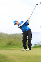 Ronan Mullarney (Galway) on the 1st tee during Round 1 of the Irish Amateur Close Championship at Seapoint Golf Club on Saturday 7th June 2014.<br /> Picture:  Thos Caffrey / www.golffile.ie