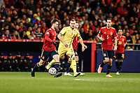 18th November 2019; Wanda Metropolitano Stadium, Madrid, Spain; European Championships 2020 Qualifier, Spain versus Romania;  Fabian Ruiz (esp)  goes past Puscas of Romania  - Editorial Use