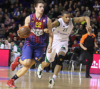 20.03.2012 Barcelona, Spain. Euroleague Playoff game 1. Picture show Xavier Rabaseda (L) and Kelly MaCarty (R) in action during match between FC Barcelona Regal against Unics Kazan at Palau Blaugrana
